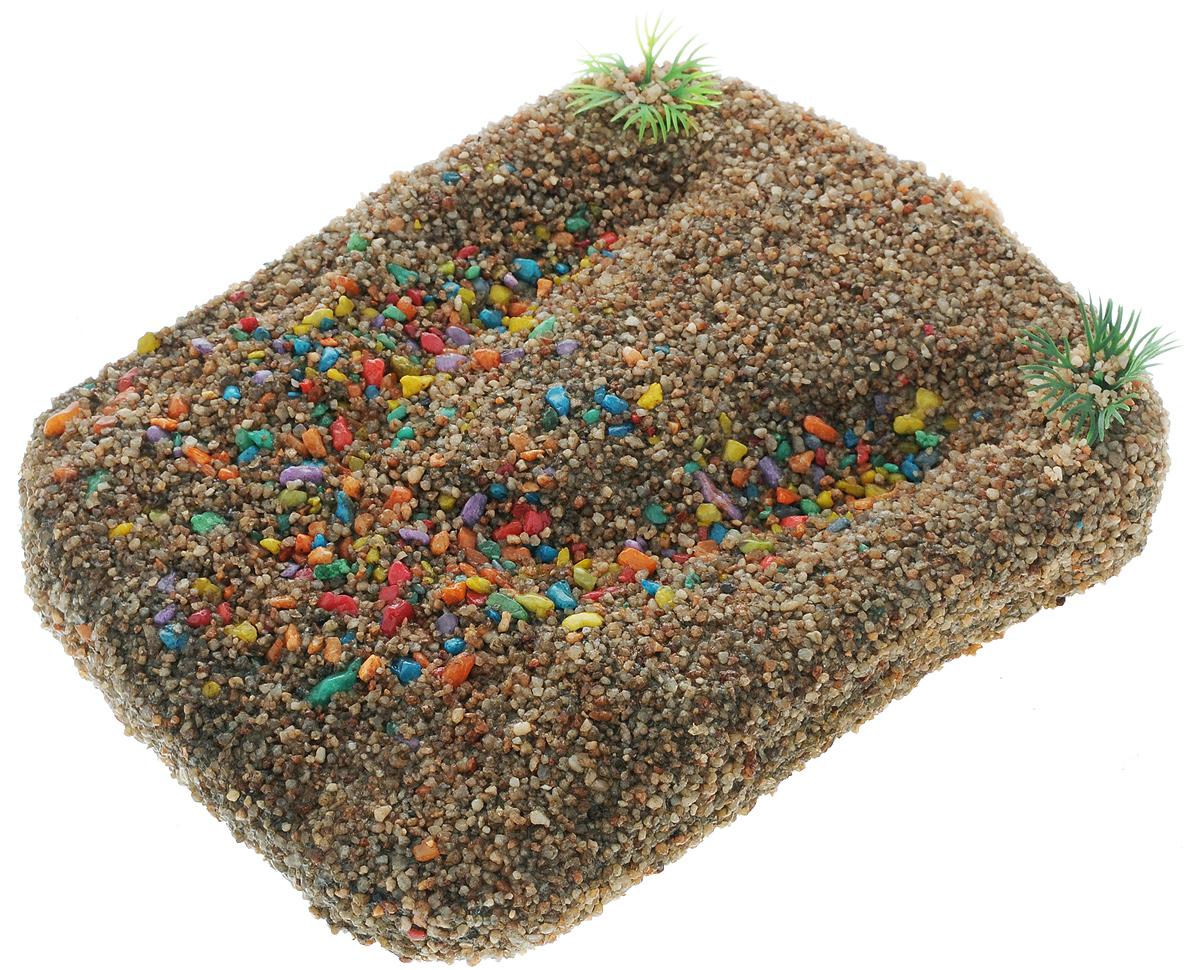 Плот для черепах Barbus, плавающий, цвет: светло-коричневый, 20 х 15 смAccessory 007_30/15Плот Barbus, выполненный из качественного полирезина, специально предназначен для водных черепах. Приятная шероховатая поверхность максимально имитирует условия обитания. Большинство водных черепах, в том числе красноухие и болотные черепахи, нуждаются в небольшом обогреваемом участке абсолютно сухой суши. Для того чтобы водная черепаха могла выбраться на сушу, существует этот плавающий плот. Он оборудован присоской, чтобы вы закрепили его в нужном месте. Над плотом необходимо расположить ультрафиолетовую лампу и лампу накаливания. Расстояние между лампой и плавающим плотом должно быть не менее 15 см, чтобы предотвратить ожог глаз у черепахи.
