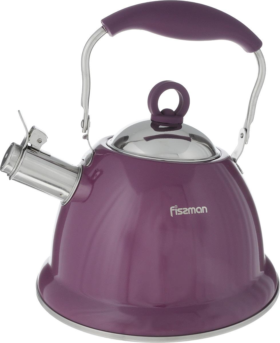 Чайник Fissman Florence, со свистком, цвет: фиолетовый, 2,6 лKT-5933.2.6_фиолетовыйЧайник Fissman Florence изготовлен из экологически чистой, безопасной для здоровья человека высококачественной нержавеющей стали 18/10, с помощью которой вода не приобретает посторонний запах и вкус. Капсульное дно обеспечивает равномерное распределение тепла, а сами вы можете регулировать скорость и температуру нагрева. Носик оснащен откидным свистком. Ручка из нержавеющей стали, обтянутая жаропрочным силиконом, не нагревается, поэтому безопасна и комфортна для использования. Используя ежедневно чайник Fissman вы будете постоянно ощущать тепло и уют на вашей кухне.Подходит для использования на газовых, электрических и стеклокерамических плитах, включая индукционные. Можно мыть в посудомоечной машине. Диаметр чайника (по верхнему краю): 9,5 см. Высота чайника (без учета крышки и ручки): 13 см. Высота чайника (с учетом ручки): 25,5 см.