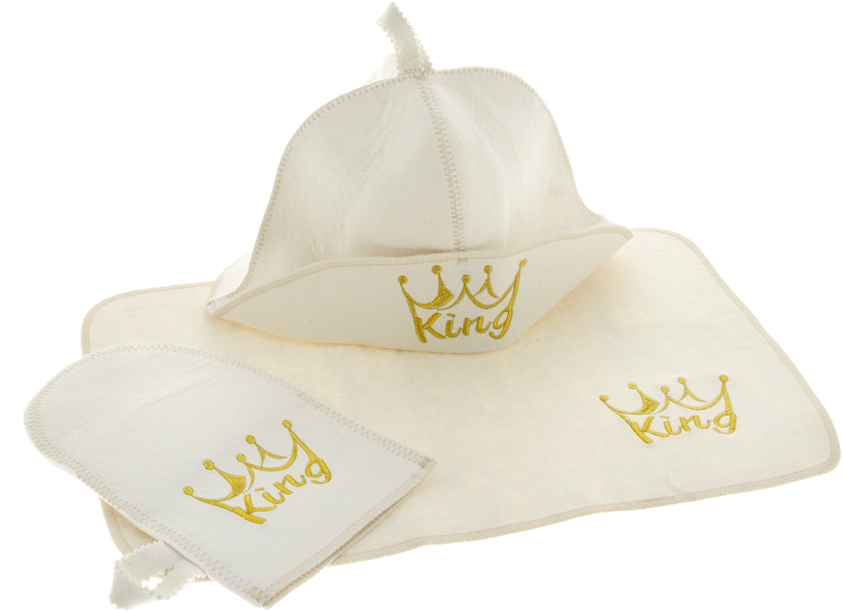 Набор для бани и сауны Доктор Баня King, 3 предмета шапка для бани и сауны доктор баня классическая кант