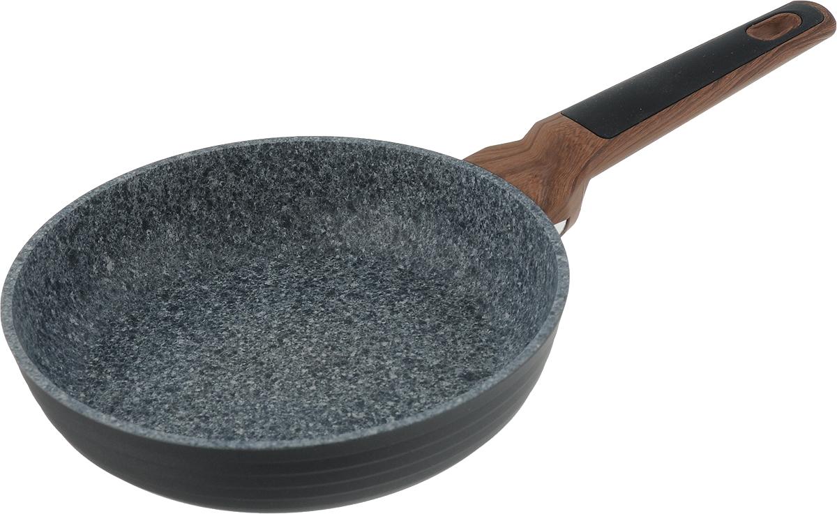 Сковорода Fissman Diamond Grey, с антипригарным покрытием. Диаметр 20 смAL-4301.20Сковорода Fissman Diamond Grey изготовлена из литого алюминия с новым 5-слойным профессиональным покрытием EcoStone. Это устойчивое к царапинам и износу покрытие, усиленное вкраплениями каменных частиц. Усовершенствованная технология обеспечивает наилучшие эксплуатационные свойства, прочность и долговечность. Толстое дно сковороды рационально распределяет тепло, а удобная ручка из бакелита не нагревается и не скользит в руках. Уникальный, притягивающий дизайн сковороды Fissman Diamond Grey не оставит вас равнодушными.Подходит для газовых, электрических, стеклокерамических плит, а также индукционных. Можно мыть в посудомоечной машине. Высота стенки: 4,5 см. Длина ручки: 18 см.