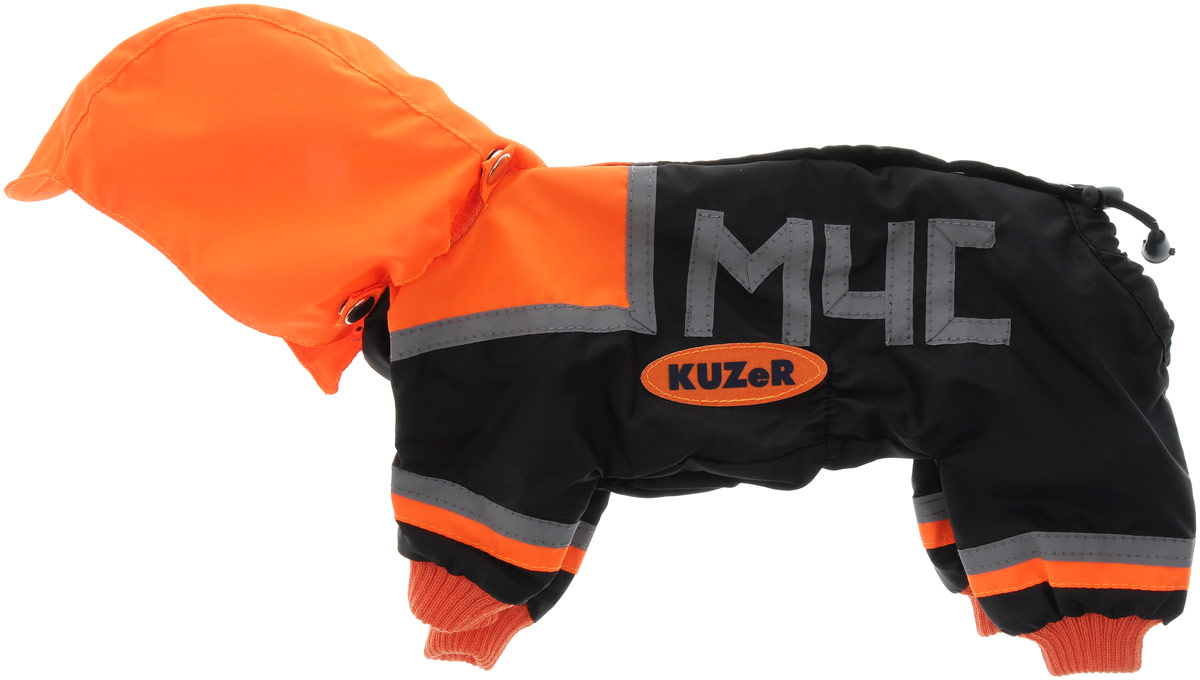 Комбинезон для собак Kuzer-Moda  МЧС , для мальчика, двухслойный, цвет: черный, оранжевый. Размер 21