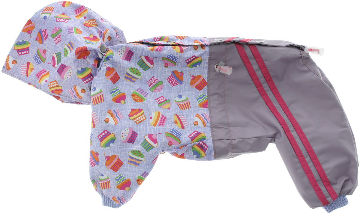 """Комбинезон для собак Kuzer-Moda """"Куртка-брюки"""", унисекс, двухслойный, цвет: серый, сиреневый. Размер 27"""