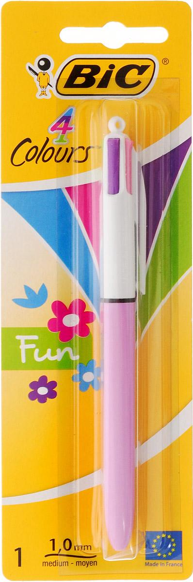 Bic Ручка шариковая Colours Fun 4 в 1 цвет корпуса сиреневый1931645Автоматическая шариковая ручка Bic Colours Fun - это четырехцветная ручка, позволяющая писать любым из четырех цветов: розовым, голубым, зеленым, фиолетовым.Удобный автоматический механизм, утолщенный корпус.