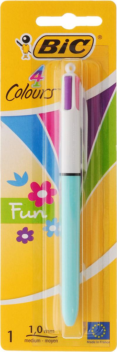 Bic Ручка шариковая Colours Fun 4 в 1 цвет корпуса голубойB887776_голубойАвтоматическая шариковая ручка Bic Colours Fun - это четырехцветная ручка, позволяющая писать любым из четырех цветов: фиолетовый, розовый, зеленый, голубой. Она имеет удобный автоматический механизм и утолщенный корпус.