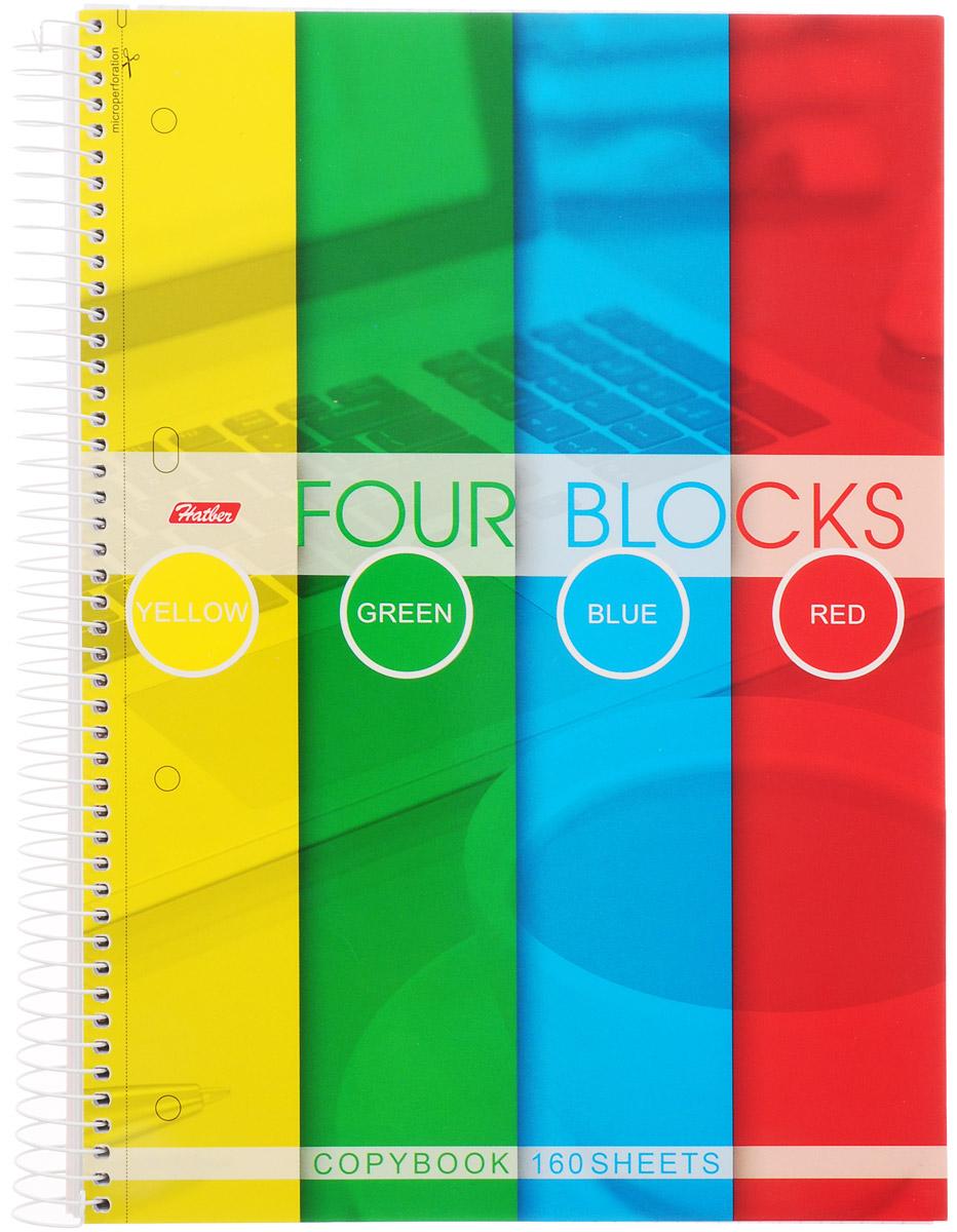 Hatber Тетрадь Four Blocks 160 листов в клетку160Тр4В1сп_03842Тетрадь Hatber Four Blocks с твердой обложкой формата А4 в клетку. Состоит из 160 листов в клетку и имеет 3 цветных разделителя для удобного использования, а также карман для хранения необходимых документов или мелких аксессуаров. Микроперфорация на отрыв предназначена для подшивки листов в архивную папку.