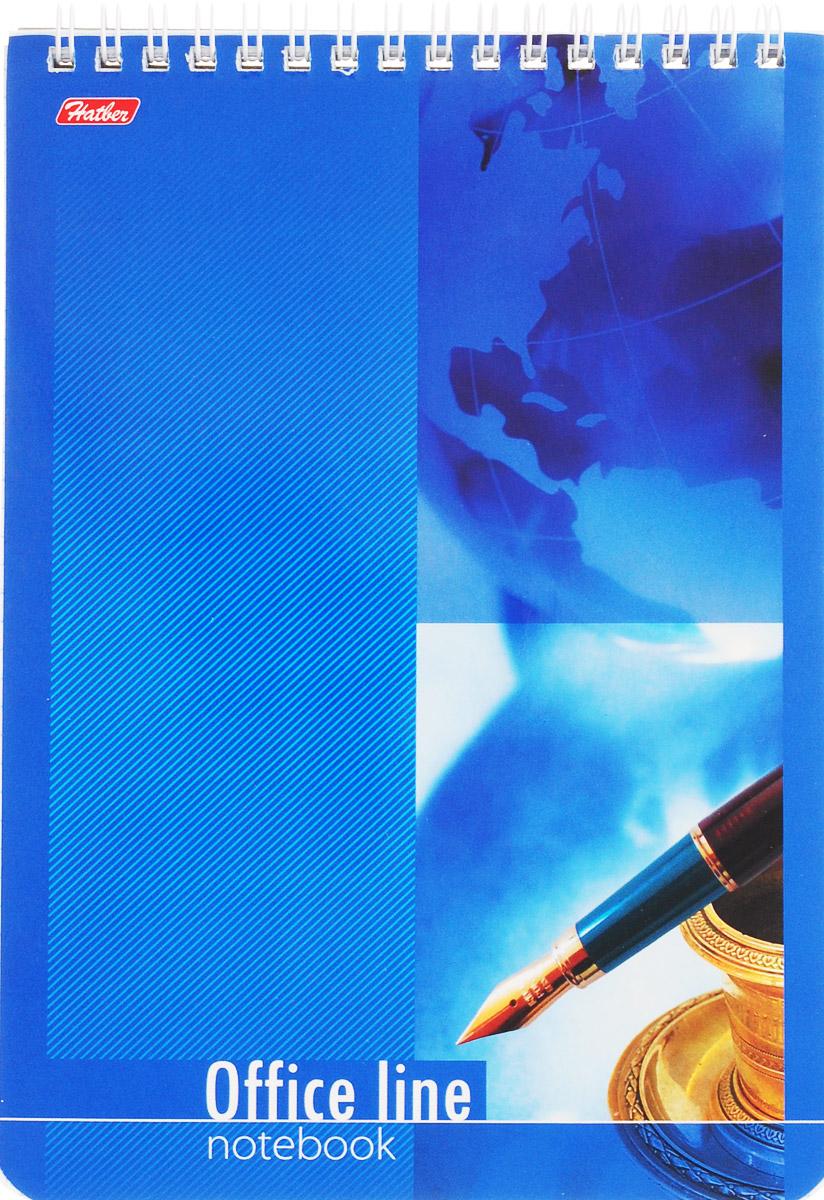 Hatber Блокнот Office Line 60 листов в клетку цвет синий60Б5B1сп_16112Блокнот Hatber Office Line - незаменимый атрибут современного человека, необходимый для рабочих и повседневных записей в офисе и дома.Фронтальная часть обложки выполнена из картона и оформлена изображением пера и чернил на синем фоне. Тыльная обложка выполнена из плотного картона, что позволяет делать записи на весу. Внутренний блок состоит из 60 листов белой бумаги. Стандартная линовка в голубую клетку без полей. Листы блокнота соединены металлическим гребнем.