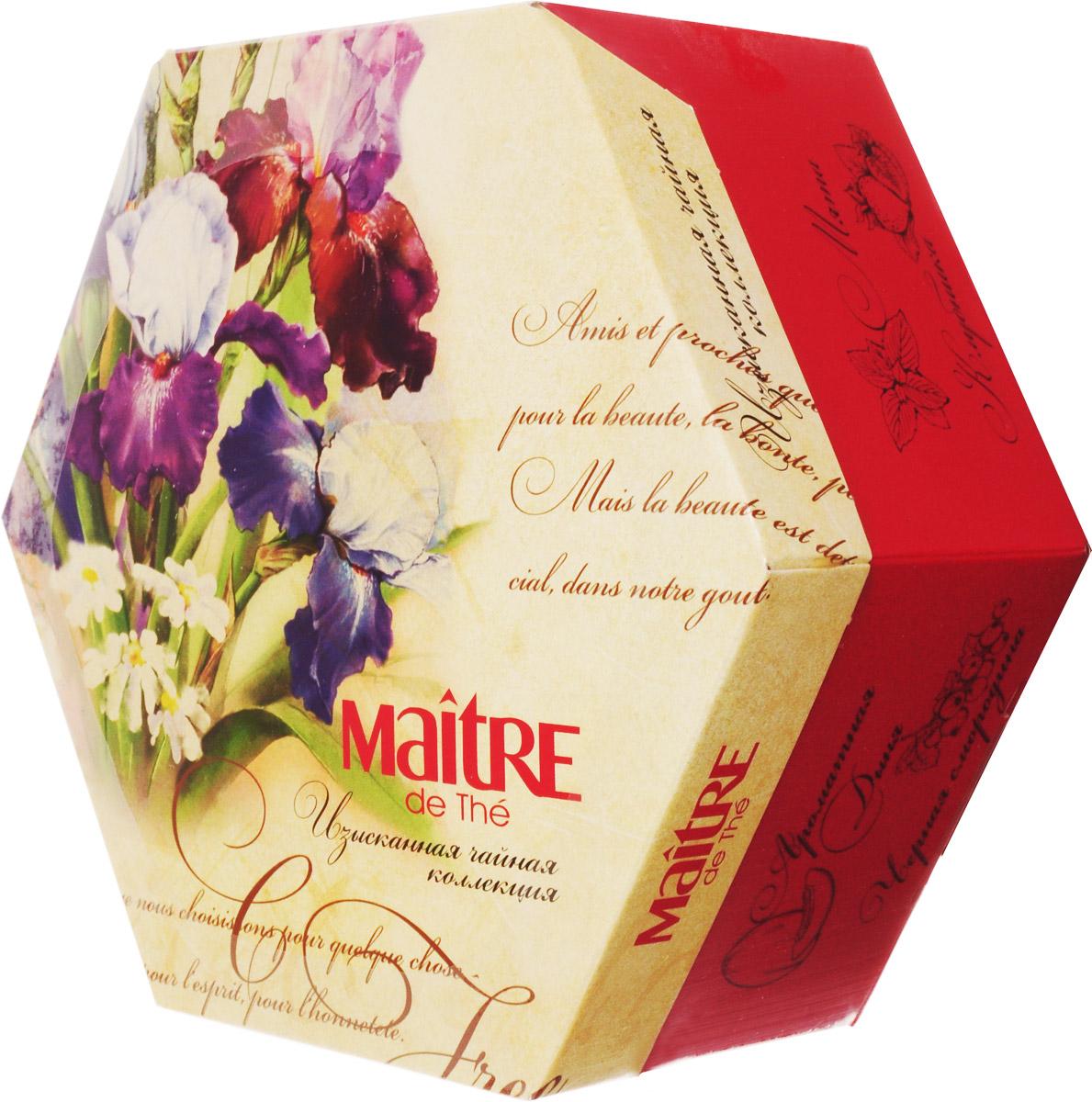 Maitre Изысканная чайная коллекция набор чая в пакетиках, 60 штбаж003_ирисыОригинальная картонная шестигранная упаковка с ярким весенним дизайном скрывает в себе Изысканную чайную коллекцию от Maitre de The. В состав набора входит пакетированный чай в металлизированных конвертах, 12 вкусов черного и зеленого чая из Регулярной коллекции:Зеленый чай: лотос и роза, жасмин, малина, клубника, лайм, мята;Черный чай: клубника со сливками, мятная ваниль, лимонный бурбон, ароматная дыня, бергамот, черная смородина.