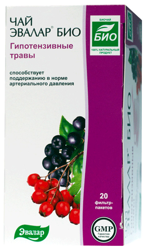 Чай Эвалар Био гипотензивные травы в фильтр-пакетах, 20 шт эвалар био чай для контроля аппетита чай 1 5г 20 фильтр пакеты
