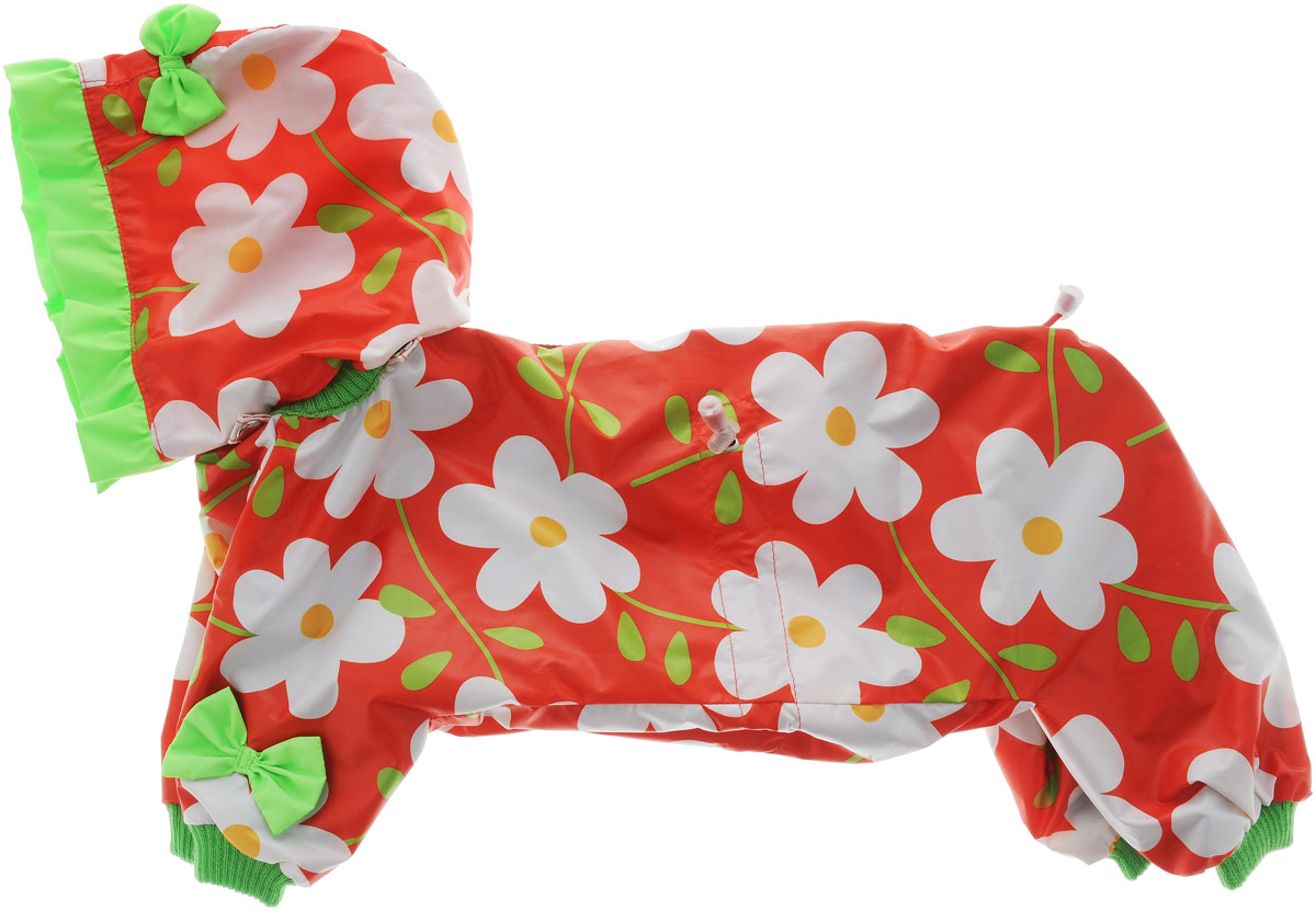 """Комбинезон для собак Kuzer-Moda """"Мариска"""", для девочки, двухслойный, цвет: красный, белый. Размер 27 L"""