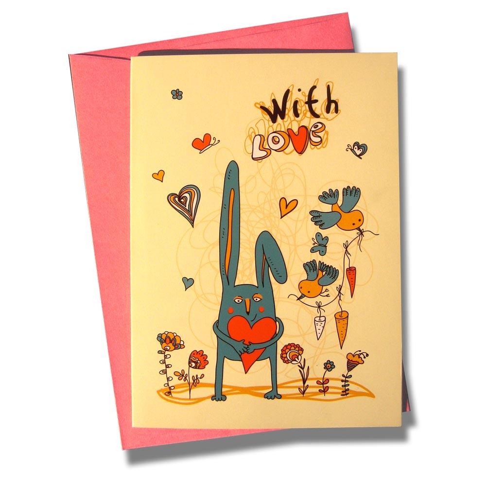 Открытка BORЯN С любовью. 001-302001-302Поздравительная открытка С любовью - трогательное дополнение к подарку любимому человеку. На открытке изображен заяц с сердцем и птички с морковкой.Открытка поставляется в комплекте с подарочным конвертом трех цветов в ассортименте: розовый, голубой или желтый.Серия Лесная сказка - открытки с романтическим сюжетом, ярким оформлением и запоминающимся дизайном.Творческая Мастерская BORЯN ® предлагает коллекцию авторских поздравительных открыток для оформления подарков.Красиво оформленный подарок - искусство! Характеристики: Материал: картон. Размер открытки: 10,5 см х 14,8 см. Размер конверта: 11,4 см х 16,2 см. Артикул: 001-302.