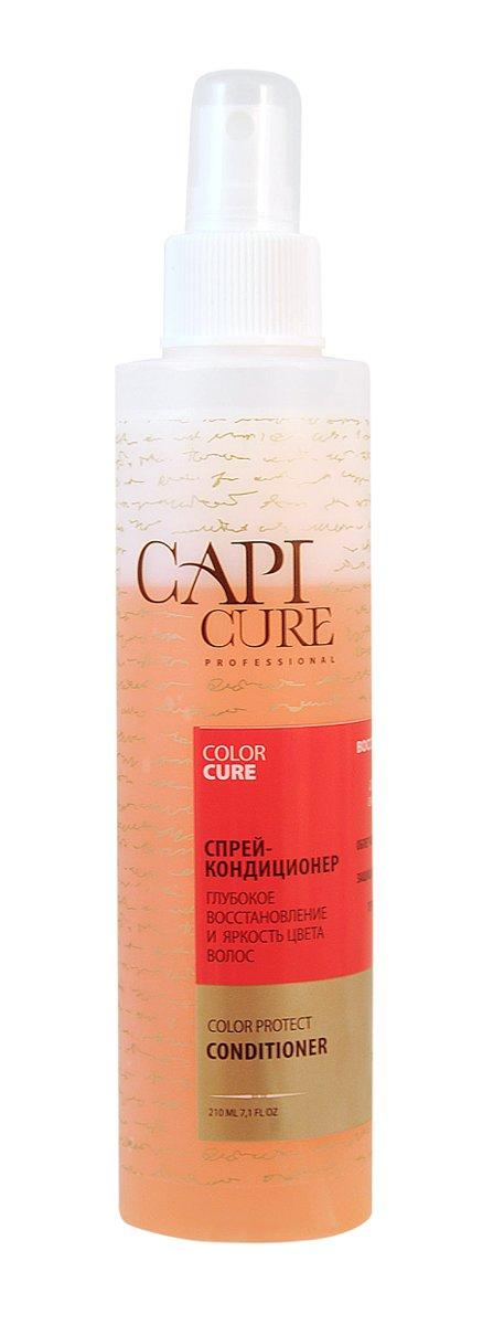 CapiCure Спрей-кондиционер Глубокое восстановление и Яркость цвета волос, 210 мл02045303CapiCure – это система комплексного восстановления волос после длительных и агрессивных повреждений. Все продукты серии предназначены и максимально эффективны для глубинного восстановления волос, дополняют действие друг друга и обеспечивают стойкий результат - увлажненные, живые и блестящие волосы. Благодаря использованию инновационных высокоактивных компонентов и сочетанию двух разных фаз, спрей-кондиционер CapiCure великолепно совмещает в себе несколько функций: Прекрасно кондиционирует волосы, облегчает их расчесывание и укладку, помогает структурировать прическу. Препятствует образованию статического электричества. Термозащитная формула спрея защищает волосы при сушке феном и укладке утюжком. С помощью активных компонентов для защиты цвета спрей-кондиционер CapiCure защищает пигмент окрашенных волос, сохраняет насыщенность и яркость цвета, придает интенсивное сияние волосам. Входящий в состав шампуня специальный защитный комплекс с витаминами Е и В5 обладает антиоксидантной активностью, увлажняет и питает волосы. Низкомолекулярный активный комплекс с протеинами сои проникает под чешуйки волоса, восстанавливает его по всей длине, возвращает волосам силу.