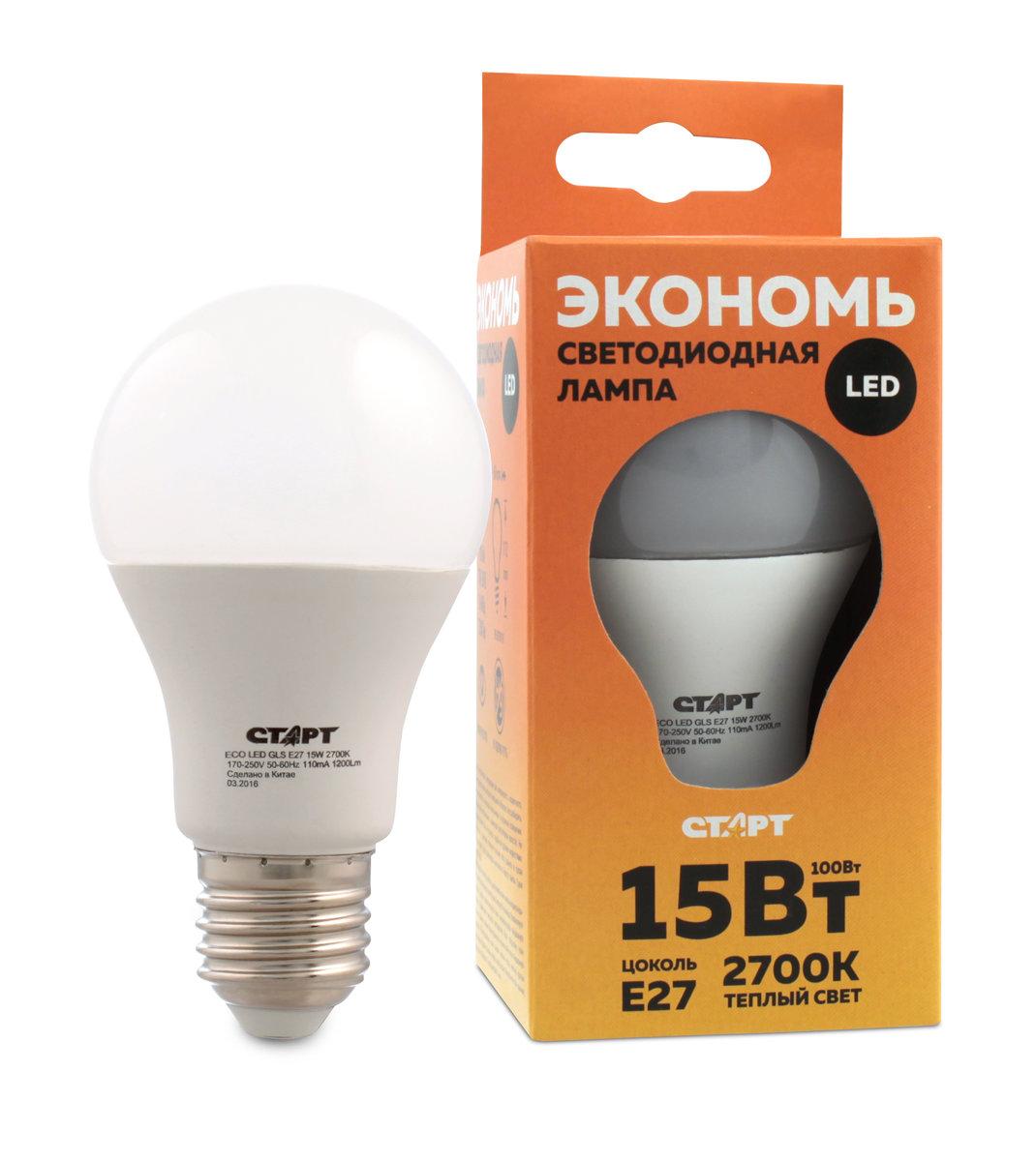 Лампа светодиодная СТАРТ, теплый свет, цоколь E27, 15W10664Светодиодная лампа СТАРТ – это самый энергоэффективный источник света, при этом имеющий рекордный срок службы. Светодиодные лампы – изделия прочные, не боятся падения с высоты человеческого роста, встрясок и вибраций. Лампа не имеет вредных материалов в своем составе, а также в процессе эксплуатации светодиодная лампа не излучает ИК- и УФ-лучи.Мощность, Вт: 15.Световой поток, Лм: 1200.Напряжение и частота: 220-240 V.Цоколь: E27.Угол светового пучка: 240°.Цветовая температура, К: 2700.Срок службы, часов: 15000.