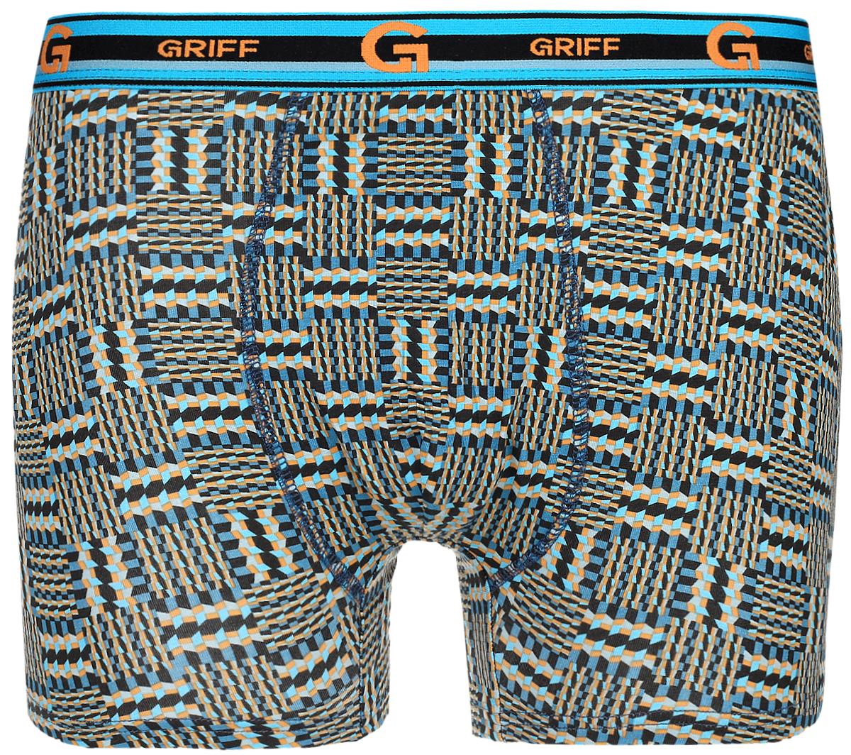 Трусы-боксеры мужские Griff, цвет: голубой, черный, оранжевый. U1504. Размер M (46) трусы боксеры мужские griff цвет темно синий u01232 размер xxxl 54