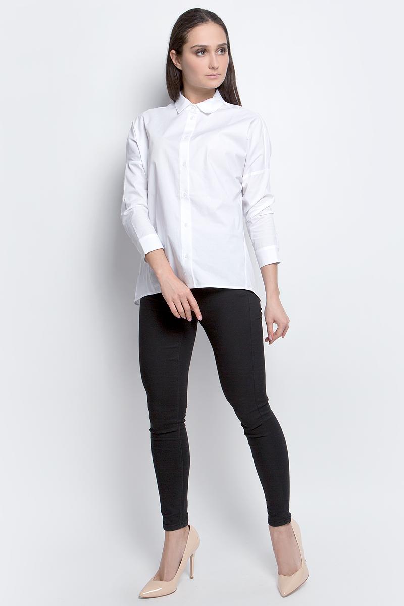 Рубашка женская Baon, цвет: белый. B177014. Размер L (48)B177014_WhiteЖенская рубашка Baon выполнена из хлопка с добавлением эластана. Модель с длинными рукавами и отложным воротником застегивается на пуговицы.