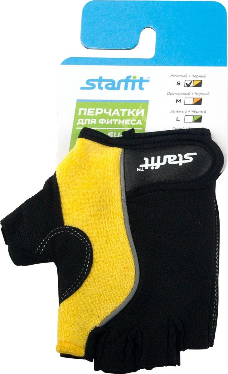 Перчатки для фитнеса Starfit SU-108, цвет: желтый, черный. Размер SУТ-00008327Перчатки для фитнеса Star Fit SU-108 необходимы для безопасной тренировки со снарядами (грифы, гантели), во время подтягиваний и отжиманий. Они минимизируют риск мозолей и ссадин на ладонях. Перчатки выполнены из нейлона, натуральной кожи, полиэстера и эластана. В рабочей части имеется вставка из тонкого поролона, обеспечивающего комфорт при тренировках.
