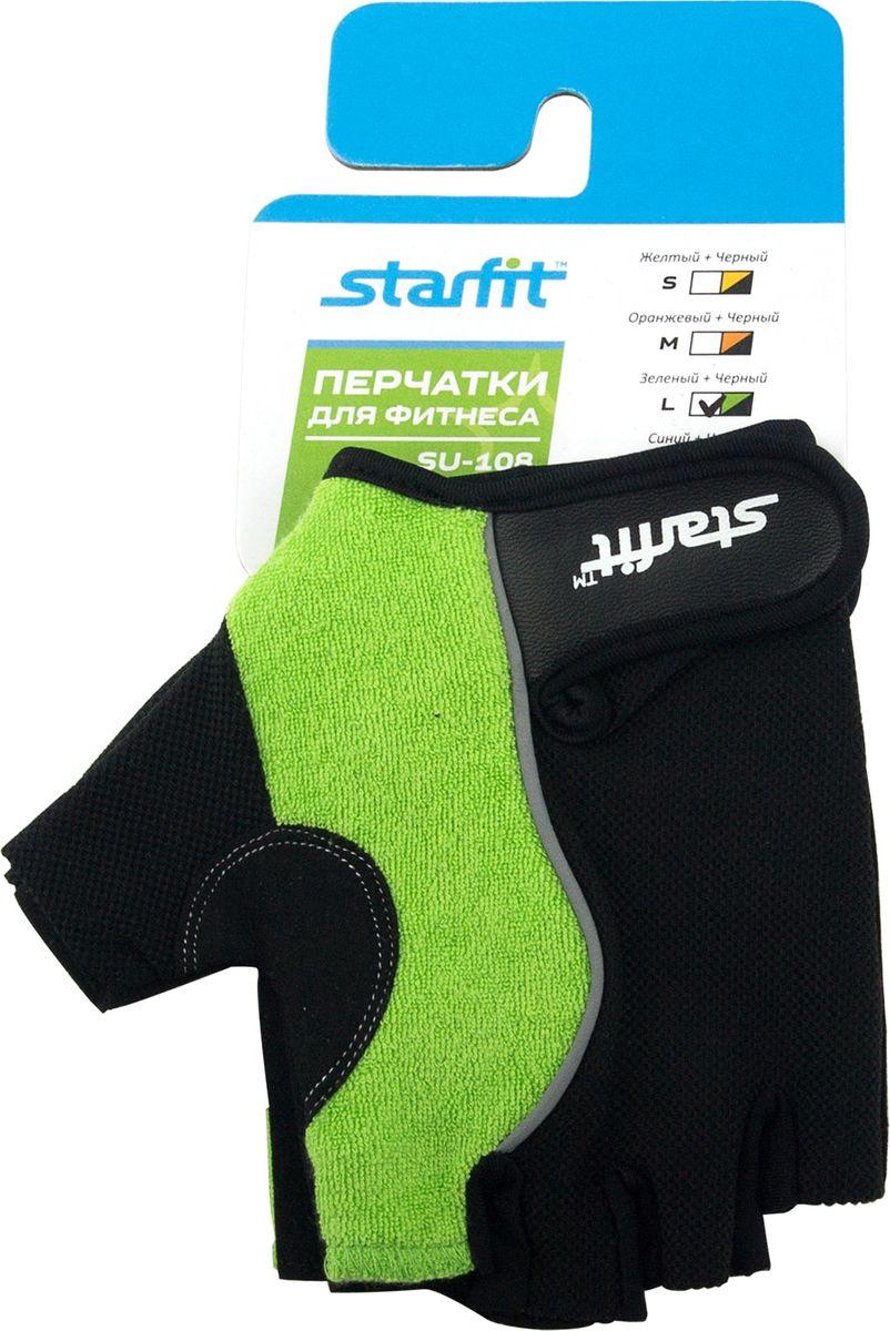 Перчатки для фитнеса Starfit SU-108, цвет: зеленый, черный. Размер L перчатки спортивные starfit перчатки для фитнеса starfit su 118 starfit
