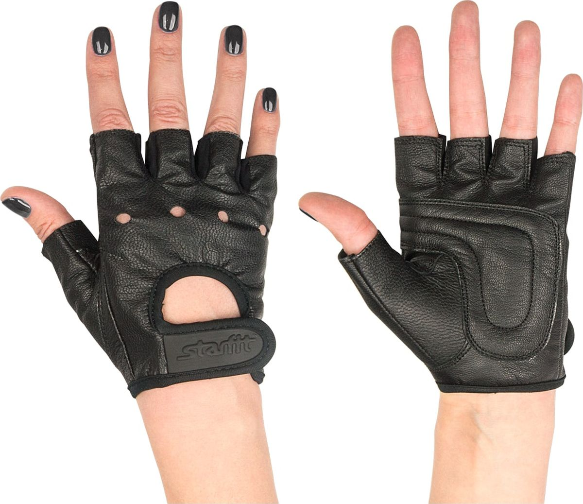 Перчатки для фитнеса Starfit SU-115, цвет: черный. Размер XS00022825Перчатки для фитнеса Star Fit SU-115 необходимы для безопасной тренировки со снарядами (грифы, гантели), во время подтягиваний и отжиманий. Они минимизируют риск мозолей и ссадин на ладонях. Перчатки выполнены из натуральной кожи и текстиля.