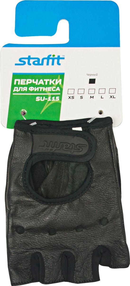 Перчатки для фитнеса Starfit SU-115, цвет: черный. Размер MУТ-00009547Перчатки для фитнеса Star Fit SU-115 необходимы для безопасной тренировки со снарядами (грифы, гантели), во время подтягиваний и отжиманий. Они минимизируют риск мозолей и ссадин на ладонях. Перчатки выполнены из натуральной кожи и текстиля.