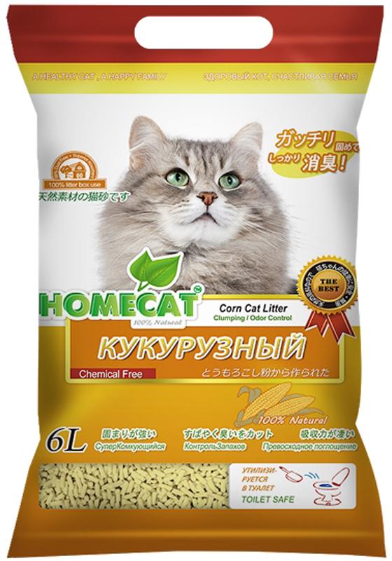 Наполнитель для кошачьего туалета Homecat Эколайн. Кукурузный, комкующийся, 6 л наполнитель для кошачьих туалетов sepicat fresh комкующийся облегченный классический 10 л