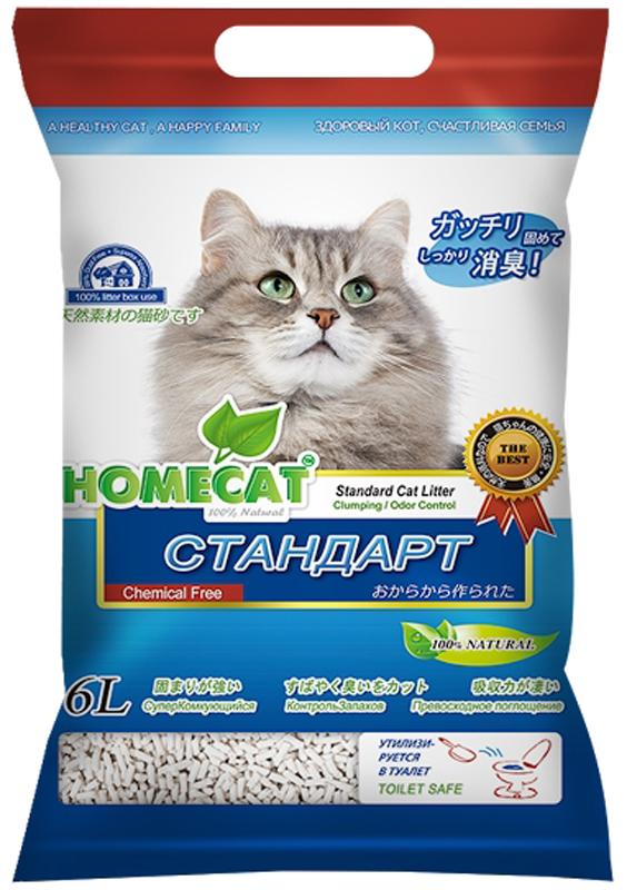 Наполнитель для кошачьего туалета Homecat Эколайн. Стандарт, комкующийся, 6 л63017Наполнитель для кошачьего туалета Homecat Эколайн. Стандарт - экологически чистый, безопасный и на 100% биоразлагаемый, изготовленный из растительного сырья, комкующийся наполнитель для кошачьих туалетов. С повышенной способностью водопоглощения и блокирования запаха. Безопасен для животного и человека.Поддерживает чистоту кошачьего туалета длительное время, подавляет запах, предотвращает рост бактерий. Обладает повышенным абсорбирующими свойствами, отлично удерживает влагу и запах внутри комка. Легкое удаление комков.Сверхнизкое содержание пыли. Натуральное сырье характеризуется приятной мягкостью и максимальным отсутствием пыли, обеспечивает приятные ощущения для кошачьих лап и органов дыхания.При производстве используется термообработка для уничтожения вредных микроорганизмов.Проходит несколько тестов безопасности.Добавление натуральных ароматизаторов позволяет долго поддерживать приятный аромат наполнителя..Вакуумная упаковка предотвращает появление бактерий и микроорганизмов..Сверхбыстрое образование комка, который легко удаляется из кошачьего туалета. Впитывает во много раз больше собственного объема. Образовавшиеся комочки после уборки можно утилизировать непосредственно в унитаз..Удобная упаковка. С удобной ручкой. Яркий и привлекательный дизайн.