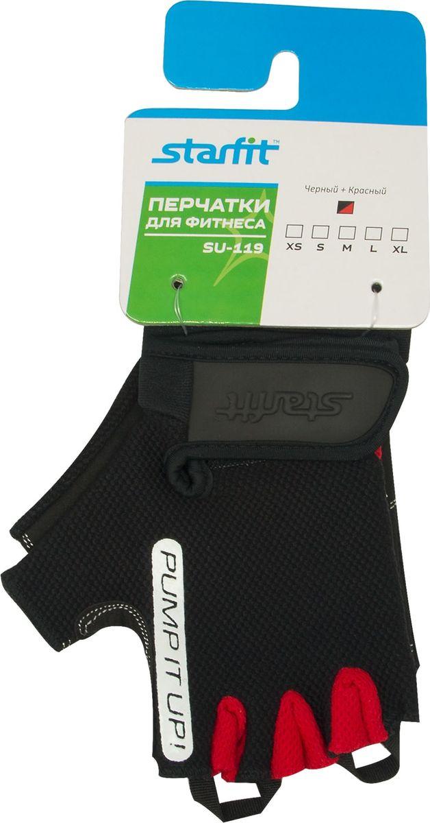 Перчатки для фитнеса Starfit SU-119, цвет: черный, красный. Размер LУТ-00009554Перчатки для фитнеса Star Fit SU-119 необходимы для безопасной тренировки со снарядами (грифы, гантели), во время подтягиваний и отжиманий. Они минимизируют риск мозолей и ссадин на ладонях. Перчатки выполнены из искусственной кожи и текстиля.