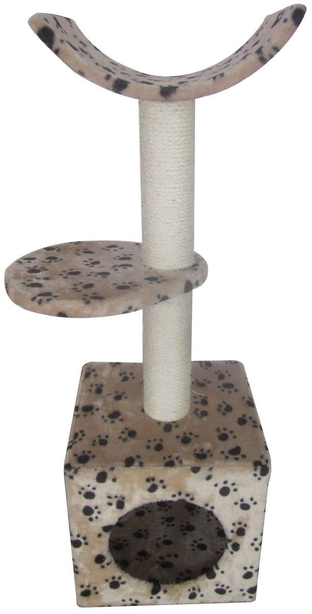 Домик-когтеточка Aimigou, 3-ярусный, цвет: бежевый, черный, белый, 30 х 31 х 92 смQQ80308A-1Игровой комплекс Aimigou выполнен из высококачественного ДСП и обтянут искусственным мехом. Изделие предназначено для кошек. Комплекс имеет 3 яруса. Ваш домашний питомец будет с удовольствием точить когти о специальные столбики, изготовленные из сизаля. А отдохнуть он сможет либо на полках, либо в расположенном внизу домике. Игровой комплекс Aimigou принесет пользу не только вашему питомцу, но и вам, так как он сохранит мебель от когтей и шерсти.Поставляется в разобранном виде. Комплектуется инструкцией по сборке.Общий размер: 30 х 31 х 92 см.Размер домика: 30 х 30 х 30 см.