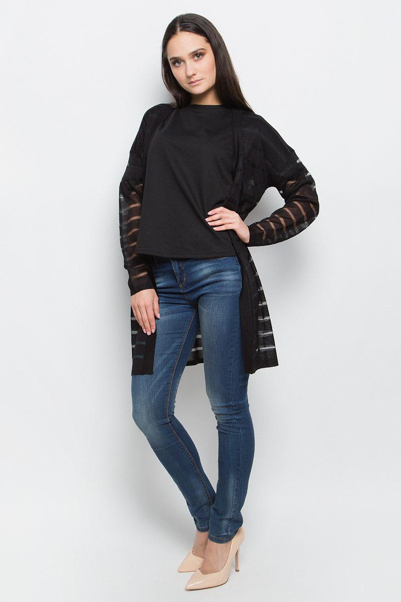Кардиган женский Baon, цвет: черный. B147005. Размер XL (50) кардиган женский baon цвет черный b147505 black размер xl 50