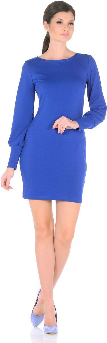 Платье Rosa Blanco, цвет: синий. 3187-12. Размер 463187-12Модное платье Rosa Blanco станет отличным дополнением к вашему гардеробу. Модель изготовлена из сочетания качественных материалов. Платье-миди приталенного силуэта выполнено с классическим вырезом-лодочка и длинными рукавами.Рукава дополнены широкими контрастными манжетами. Модель не имеет застежек. Платье приобретает особый шарм благодаря вытачки в области груди.