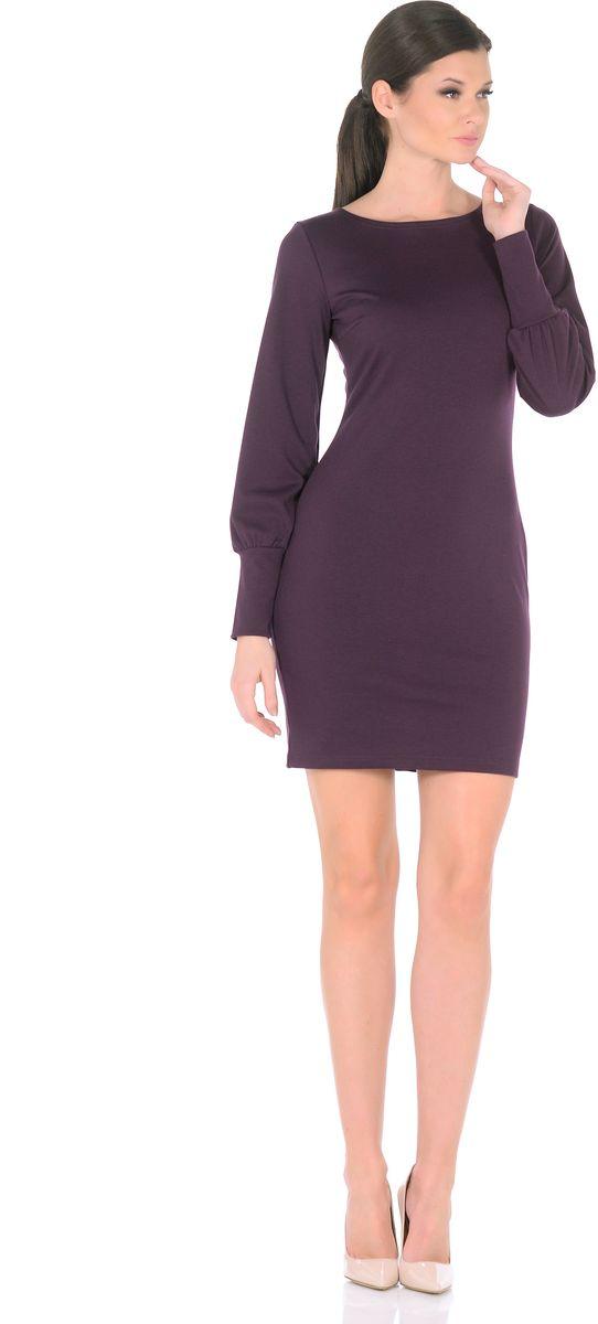 Платье Rosa Blanco, цвет: фиолетовый. 3187-14. Размер 483187-14Модное платье Rosa Blanco станет отличным дополнением к вашему гардеробу. Модель изготовлена из сочетания качественных материалов. Платье-миди приталенного силуэта выполнено с классическим вырезом-лодочка и длинными рукавами.Рукава дополнены широкими контрастными манжетами. Модель не имеет застежек. Платье приобретает особый шарм благодаря вытачки в области груди.