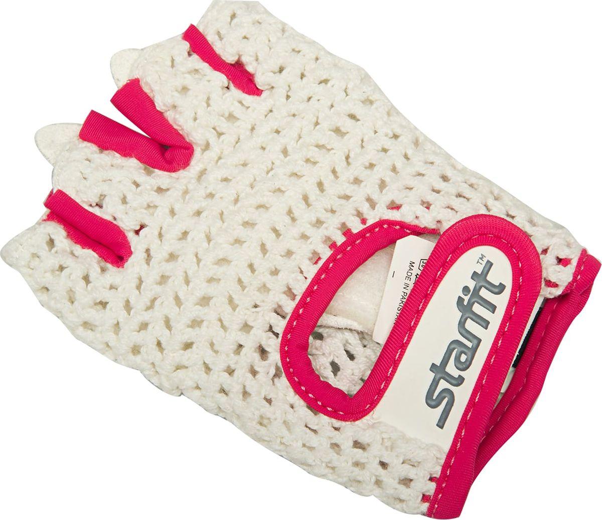 Перчатки для фитнеса женские Starfit SU-110, цвет: белый, розовый. Размер MУТ-00009562Перчатки для фитнеса женские Starfit SU-110 выполнены из хлопка, полиуретана и нейлона. Они необходимы для безопасной тренировки со снарядами (грифы, гантели), во время подтягиваний и отжиманий. Перчатки минимизируют риск мозолей и ссадин на ладонях. Удобный ремешок на липучке для плотной посадки на запястье.
