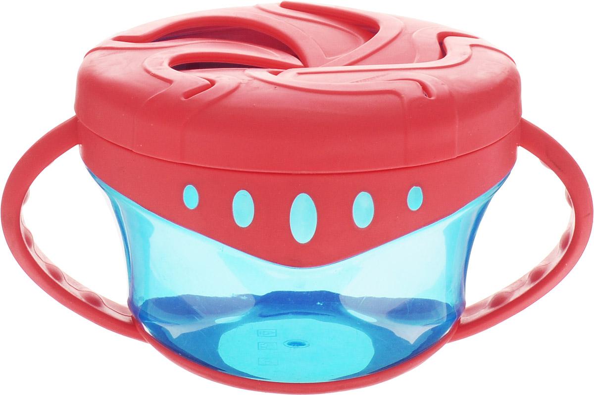 """Чашка для сухих завтраков """"Мир детства"""" разработана специально для хранения детских закусок: печенья, сушек, сухариков. Пластичные лепестки крышки удерживают содержимое чашки таким образом, чтобы малыш мог легко до него добраться, ничего не просыпав. Прозрачные стенки чашки позволяют контролировать объем оставшейся пищи. Легкая компактная чашка особенно удобна в путешествиях. Подходит для ежедневного использования. Незаменима как дома, так и на прогулках. Запрещено стерилизовать и разогревать в СВЧ-печи. Разрешено мыть в посудомоечной машине только в верхнем отделении. Не содержит Бисфенол-А."""