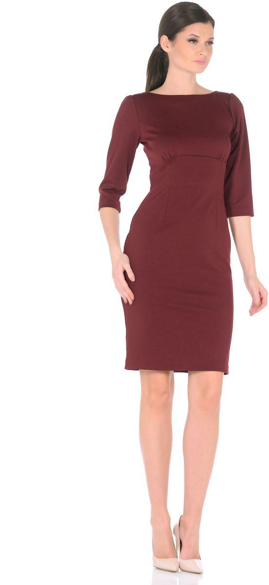 Платье Rosa Blanco, цвет: бордовый. 3193-49. Размер 483193-49Модное платье Rosa Blanco станет отличным дополнением к вашему гардеробу. Модель изготовлена из сочетания качественных материалов. Платье-миди выполнено с удобным приталенным силуэтом и рукавами 3/4. Изделие имеет круглый вырез горловины и застегивается сзади по спинке на пуговицу. Платье оформлено вытачками, которые выделяют талию и изгибы силуэта, а специальный подрез под грудью со сборкой заботится об оптимальной посадке.