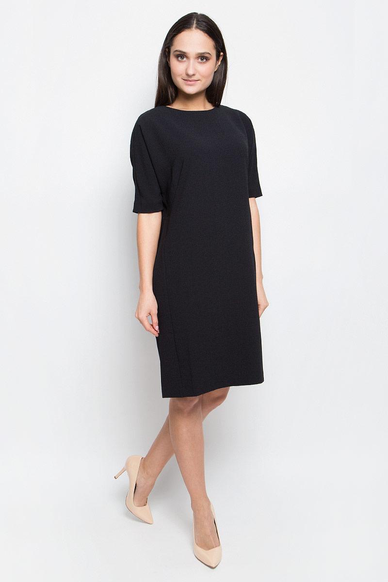 Платье Baon, цвет: черный. B457018. Размер L (48)B457018_BlackПлатье Baon выполнено из эластичной фактурной ткани. У модели рукава «летучая мышь», круглый вырез горловины и слегка зауженная юбка. Спинка застегивается на пуговицу.