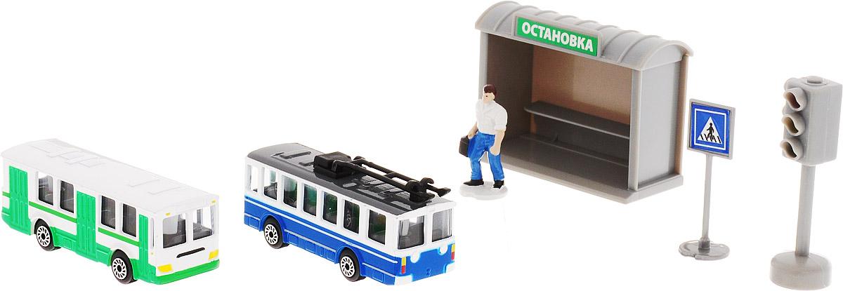 ТехноПарк Игровой набор Городской транспорт Автобус Троллейбус технопарк игровой набор городской транспорт маршрутное такси трамвай
