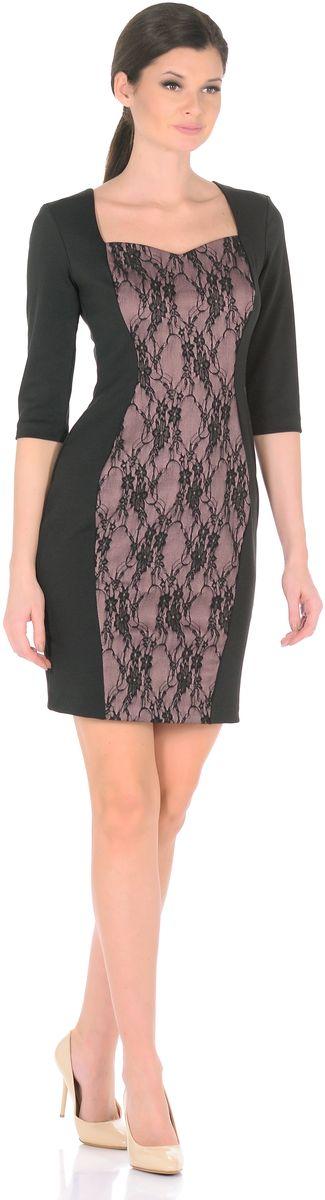 Платье Rosa Blanco, цвет: черный, бежево-розовый. 3195-1-С1. Размер 483195-1-С1Модное платье Rosa Blanco станет отличным дополнением к вашему гардеробу. Модель изготовлена из сочетания качественных материалов. Платье-миди выполнено с юбкой-футляр и рукавами 3/4. Изделие имеет V-образный вырез горловины, который идеально подчеркивает зону декольте. Модель без застежек. Платье приобретает особый шарм благодаря контрастной вставки из гипюра с цветочным узором.