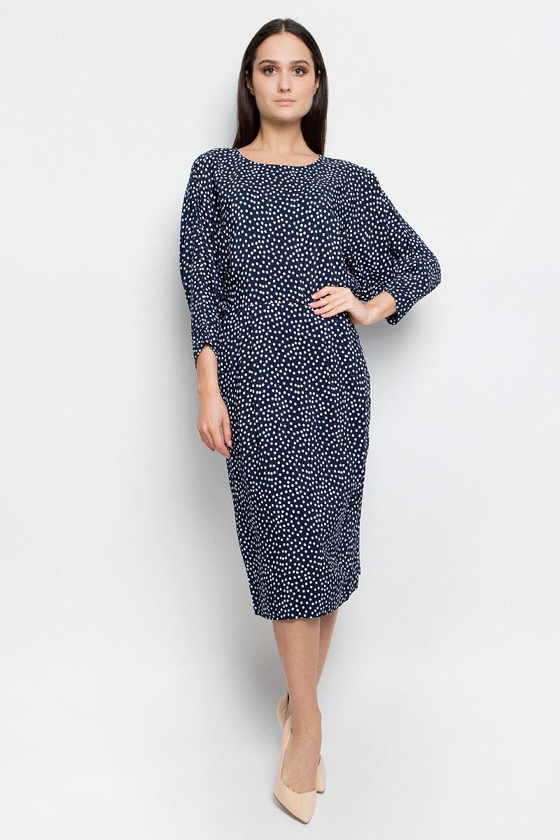 Платье Baon, цвет: темно-синий. B457026. Размер L (48)B457026_Dark Navy PrintedПлатье Baon выполнено из высококачественной вискозы. Модель средней длины с рукавами летучая мышь длиной 3/4 имеет круглый вырез горловины. Платье застегивается на застежку-молнию на спинке, дополнено подъюбником из полиэстера. Спереди расположены два втачных кармана. Изделие оформлено принтом в горох.