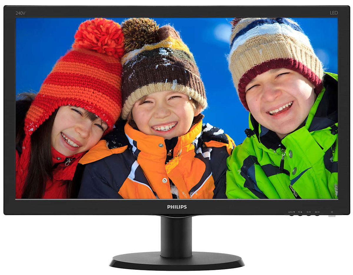 Philips 240V5QDAB, Black монитор240V5QDAB/00(01)Оцените яркое изображение на дисплее Philips 240V5QDAB с входом HDMI и акустической стереосистемой. В IPS-ADS-дисплеях используетсяпрогрессивная технология, обеспечивающая широкий угол обзора 178/178 градусов для просмотра дисплея практически под любым углом. Посравнению со стандартными TN-панелями IPS-ADS-дисплеи обеспечивают значительно более высокую четкость изображения и яркие цвета, чтоделает их идеальным решением не только для просмотра фотографий, фильмов и веб-сайтов, но также и для работы в профессиональныхприложениях, где требуется точная передача цвета и яркости.Качество изображения играет важную роль. Обычные дисплеи обеспечивают неплохое качество изображения, однако не на самом высокомуровне. Этот дисплей оснащен улучшенным разрешением Full HD 1920 x 1080: четкая детализация в сочетании с высокой яркостью, удивительнойконтрастностью и реалистичной цветопередачей — естественное изображение словно оживает на глазах.SmartContrast — технология Philips, которая анализирует отображаемый контент и автоматически настраивает цвета и интенсивность подсветкидля динамичного улучшения контраста. Тем самым обеспечивается оптимальный уровень контрастности и наилучшее качество цифровогоизображения, а также большая насыщенность темных оттенков, что особенно важно во время игр. При выборе экономичного режима уровеньконтрастности регулируется, а подсветка настраивается для оптимальной работы со стандартными офисными приложениями и экономииэлектроэнергии.Устройство HDMI Ready обладает всем необходимым аппаратным обеспечением для работы через мультимедийный интерфейс высокой четкости(HDMI). С помощью одного HDMI-кабеля цифровой видео- и аудиоконтент высокого качества передается с ПК или с любого количества аудио- ивидеоисточников (включая телеприставки, проигрыватели DVD, ресиверы А/В и видеокамеры).SmartControl Lite — программное обеспечение нового поколения для управления монитором с поддержкой 3D изображения. Графическийинт