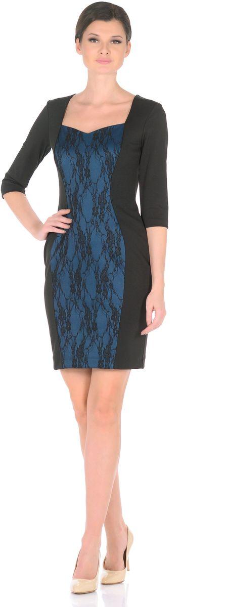 Платье Rosa Blanco, цвет: черный, синий. 3195-1-С3. Размер 463195-1-С3Модное платье Rosa Blanco станет отличным дополнением к вашему гардеробу. Модель изготовлена из сочетания качественных материалов. Платье-миди выполнено с юбкой-футляр и рукавами 3/4. Изделие имеет V-образный вырез горловины, который идеально подчеркивает зону декольте. Модель без застежек. Платье приобретает особый шарм благодаря контрастной вставки из гипюра с цветочным узором.