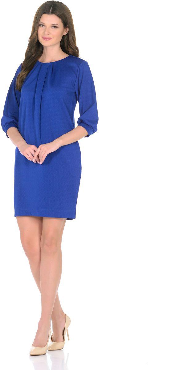 Платье Rosa Blanco, цвет: синий. 3285-11. Размер 463285-11Модное платье Rosa Blanco станет отличным дополнением к вашему гардеробу. Модель изготовлена из сочетания качественных материалов. Платье-миди прямого кроя и рукавами 3/4 имеет круглый вырез горловины. Модель без застежек. Платье приобретает особый шарм за счет стильных складок у горловины и на рукавах. В боковых швах изделие дополнено двумя втачными карманами.