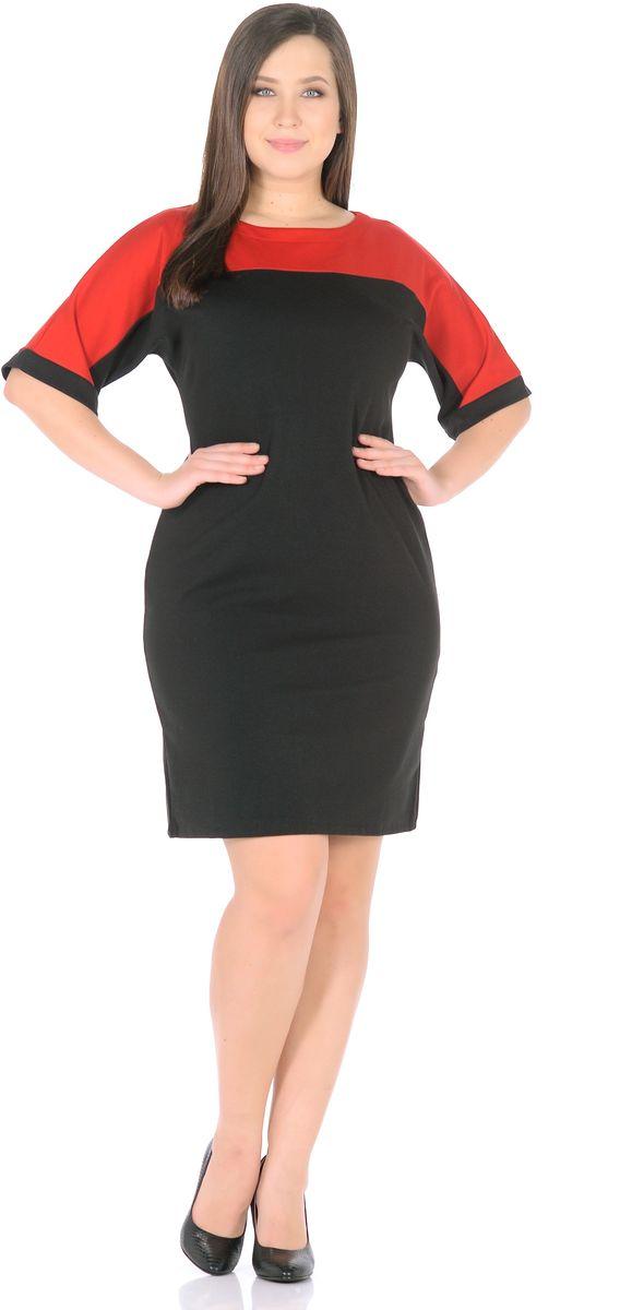 Платье Rosa Blanco, цвет: черный, красный. 33010-1-36. Размер 4833010-1-36Модное платье Rosa Blanco станет отличным дополнением к вашему гардеробу. Модель изготовлена из сочетания качественных материалов. Платье-миди выполнено с цельнокроеными рукавами 3/4 и вырезом горловины-лодочка. Модель не имеет застежек.