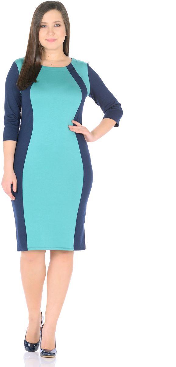 Платье Rosa Blanco, цвет: темно-синий, мятный. 33049-11-35. Размер 5833049-11-35Модное платье Rosa Blanco станет отличным дополнением к вашему гардеробу. Модель изготовлена из сочетания качественных материалов. Платье-миди выполнено с удобным приталенным силуэтом и рукавами 3/4. Изделие имеет круглый вырез горловины. Модель без застежек. Платье приобретает особый шарм за счет контрастной вставки по центру.
