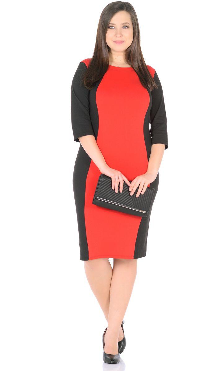 Платье Rosa Blanco, цвет: черный, красный. 33049-1-36. Размер 5033049-1-36Модное платье Rosa Blanco станет отличным дополнением к вашему гардеробу. Модель изготовлена из сочетания качественных материалов. Платье-миди выполнено с удобным приталенным силуэтом и рукавами 3/4. Изделие имеет круглый вырез горловины. Модель без застежек. Платье приобретает особый шарм за счет контрастной вставки по центру.