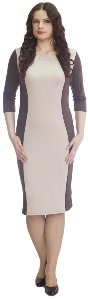 Платье Rosa Blanco, цвет: темно-коричневый, бежевый. 33049-26-42. Размер 6233049-26-42Модное платье Rosa Blanco станет отличным дополнением к вашему гардеробу. Модель изготовлена из сочетания качественных материалов. Платье-миди выполнено с удобным приталенным силуэтом и рукавами 3/4. Изделие имеет круглый вырез горловины. Модель без застежек. Платье приобретает особый шарм за счет контрастной вставки по центру.