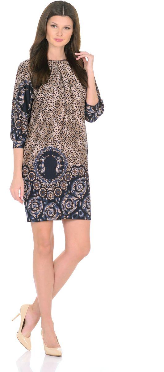 Платье Rosa Blanco, цвет: коричневый, темно-синий. 3385-Г1. Размер 443385-Г1Модное платье Rosa Blanco станет отличным дополнением к вашему гардеробу. Модель изготовлена из сочетания качественных материалов. Платье-миди прямого кроя и рукавами 3/4 имеет круглый вырез горловины. Модель без застежек. Платье приобретает особый шарм за счет стильных складок у горловины и на рукавах. В боковом шве изделие дополнено двумя втачными карманами.