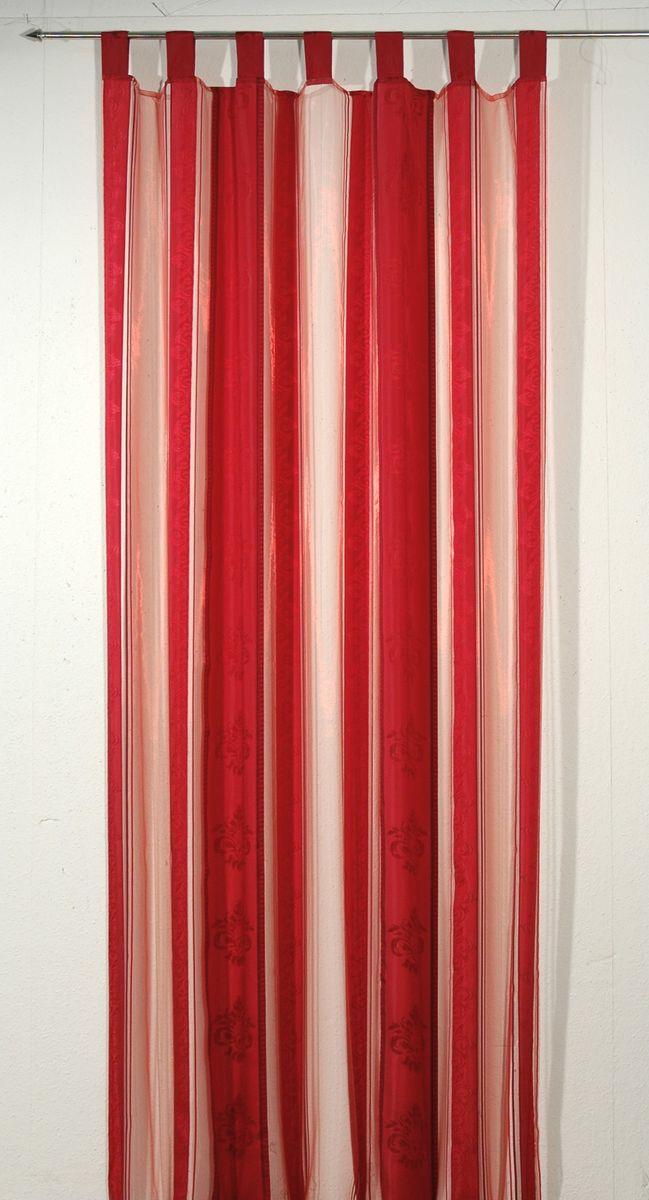 """Гардина """"Schaefer"""" выполнена из полиэстера красного цвета с изысканным витиеватым  рисунком. В верхнюю часть гардины вшиты специальные петли. Для подвешивания гардины достаточно лишь продеть в них карниз. Гардина прекрасно подойдет для подвешивания на настенный карниз. Материал: 100% полиэстер. Размер гардины: 140 х 250 см."""