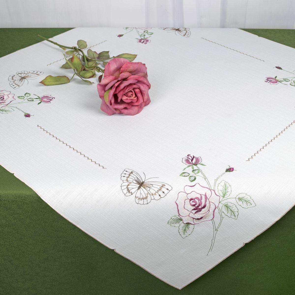 Скатерть Schaefer, квадратная, цвет: белый, 85 x 85 см. 07707-10007707-100Стильная скатерть Schaefer, выполненная из полиэстера, украшена вышивкой. Вышивка дает эффект объема за счет направления стежков при вышивании.Изделия из полиэстера легко стирать: они не мнутся, не садятся и быстро сохнут, они более долговечны, чем изделия из натуральных волокон.Немецкая компания Schaefer создана в 1921 году. На протяжении всего времени существования она создает уникальные коллекции домашнего текстиля для гостиных, спален, кухонь и ванных комнат. Дизайнерские идеи немецких художников компании Schaefer воплощаются в текстильных изделиях, которые сделают ваш дом красивее и уютнее и не останутся незамеченными вашими гостями. Дарите себе и близким красоту каждый день!