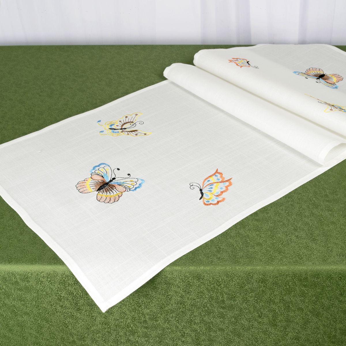 Дорожка для декорирования стола Schaefer, 40 x 140 см, цвет: белый. 07720-21107720-211Дорожка для декорирования стола Schaefer может быть использована, как основной элемент, так и дополнение для создания уюта и романтического настроения.Дорожка выполнена из полиэстера. Изделие легко стирать: оно не мнется, не садится и быстро сохнет, более долговечно, чем изделие из натуральных волокон.Материал: 100% полиэстер.Размер: 40 x 140 см