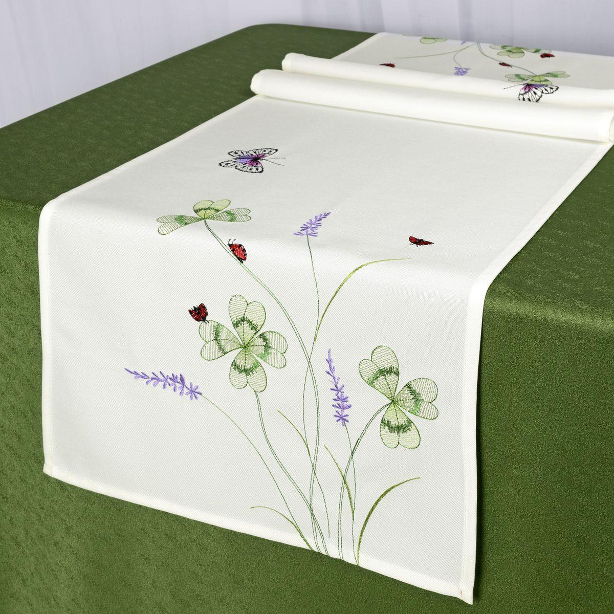 Дорожка для декорирования стола Schaefer, 40 x 140 см, цвет: белый. 07725-21107725-211Дорожка для декорирования стола Schaefer может быть использована, как основной элемент, так и дополнение для создания уюта и романтического настроения.Дорожка выполнена из полиэстера. Изделие легко стирать: оно не мнется, не садится и быстро сохнет, более долговечно, чем изделие из натуральных волокон.Материал: 100% полиэстер.Размер: 40 x 140 см.