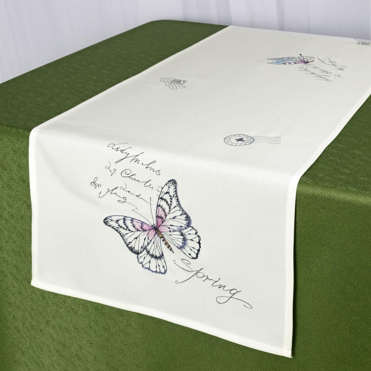 Дорожка для декорирования стола Schaefer, 40 x 140 см, цвет: белый. 07730-211