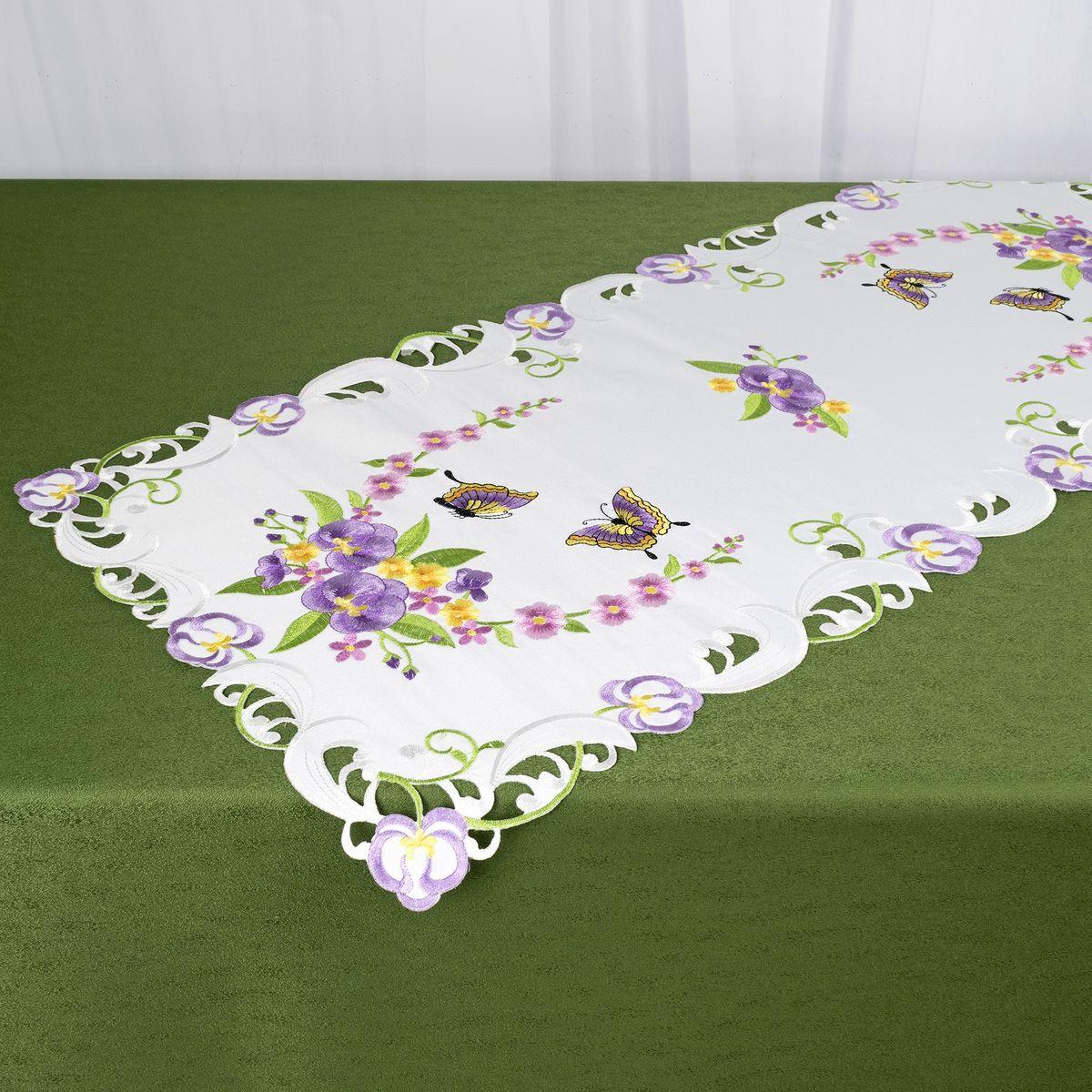 Дорожка для декорирования стола Schaefer, 40 x 85 см, цвет: белый, фиолетовый. 07745-271